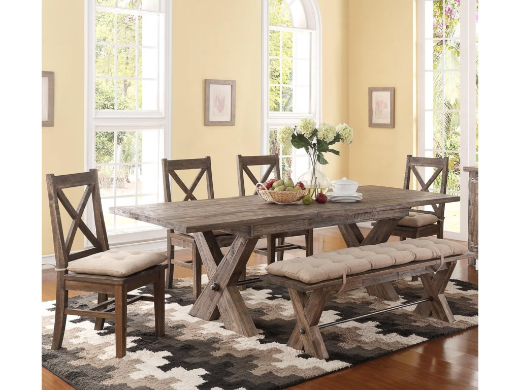 New Classic Tuscany Park 6 Piece Trestle Dining Table and Cushioned ...