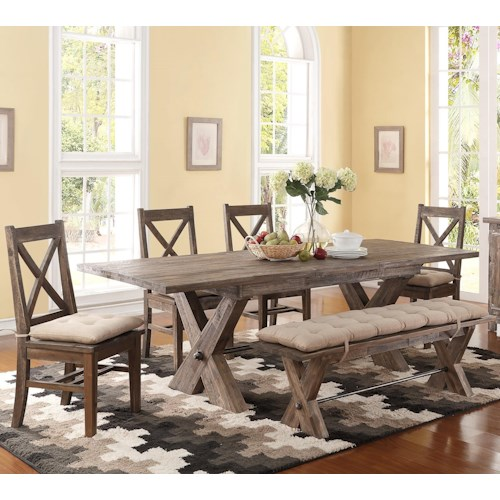 New Clic Tuscany Park 6 Piece Trestle Dining Table And Cushioned Side Chairs Bench