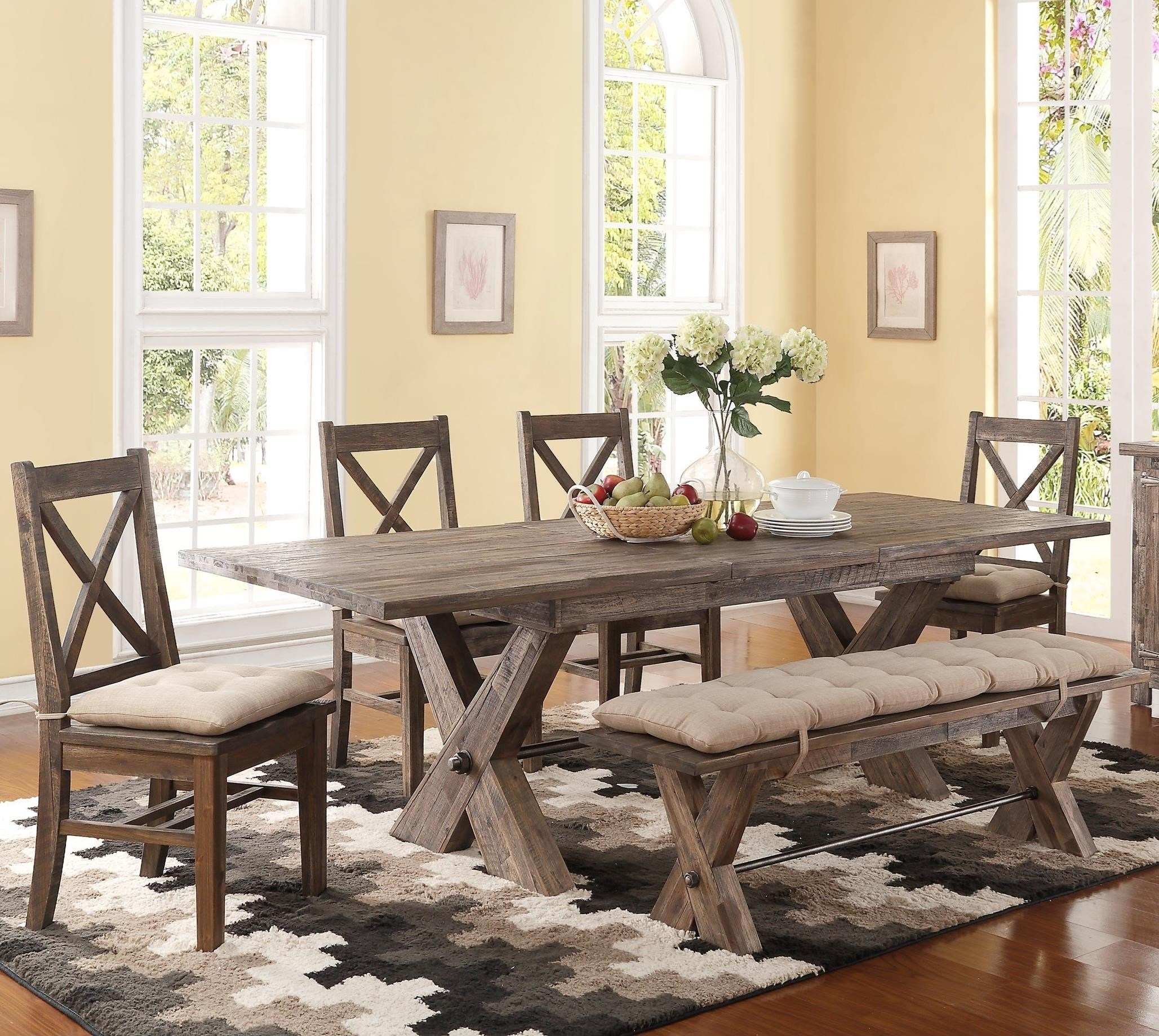 New Classic Tuscany Park 6 Piece Trestle Dining Table And Cushioned Side  Chairs And Bench