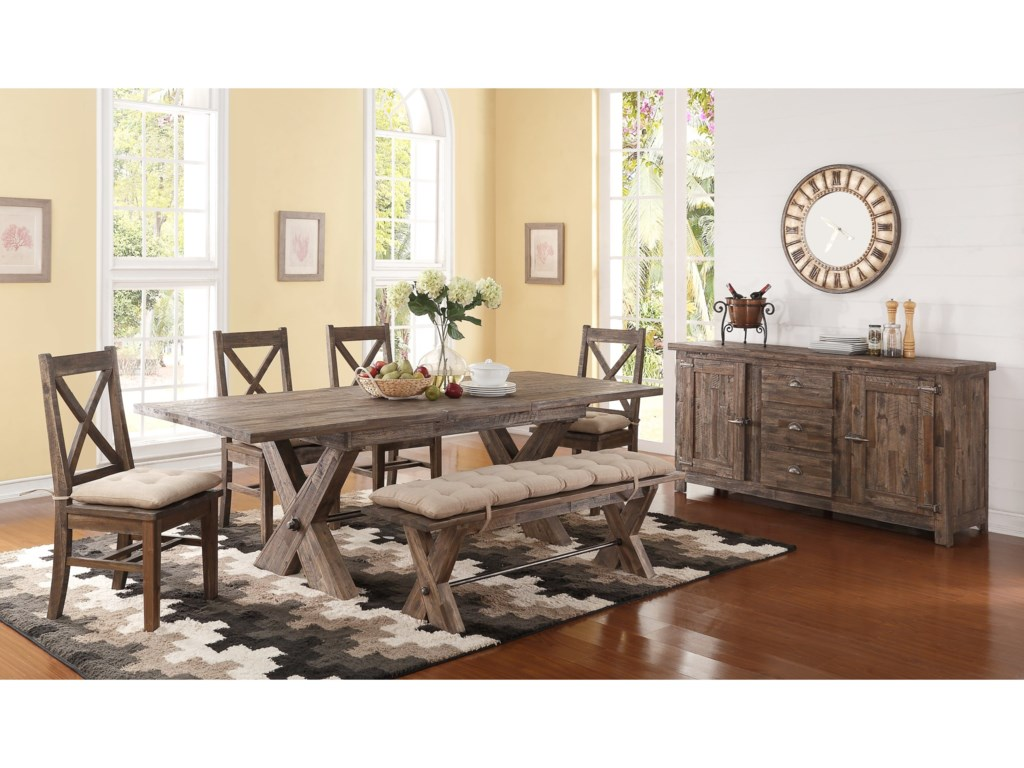 New Clic Tuscany Park6 Piece Trestle Dining Table Set