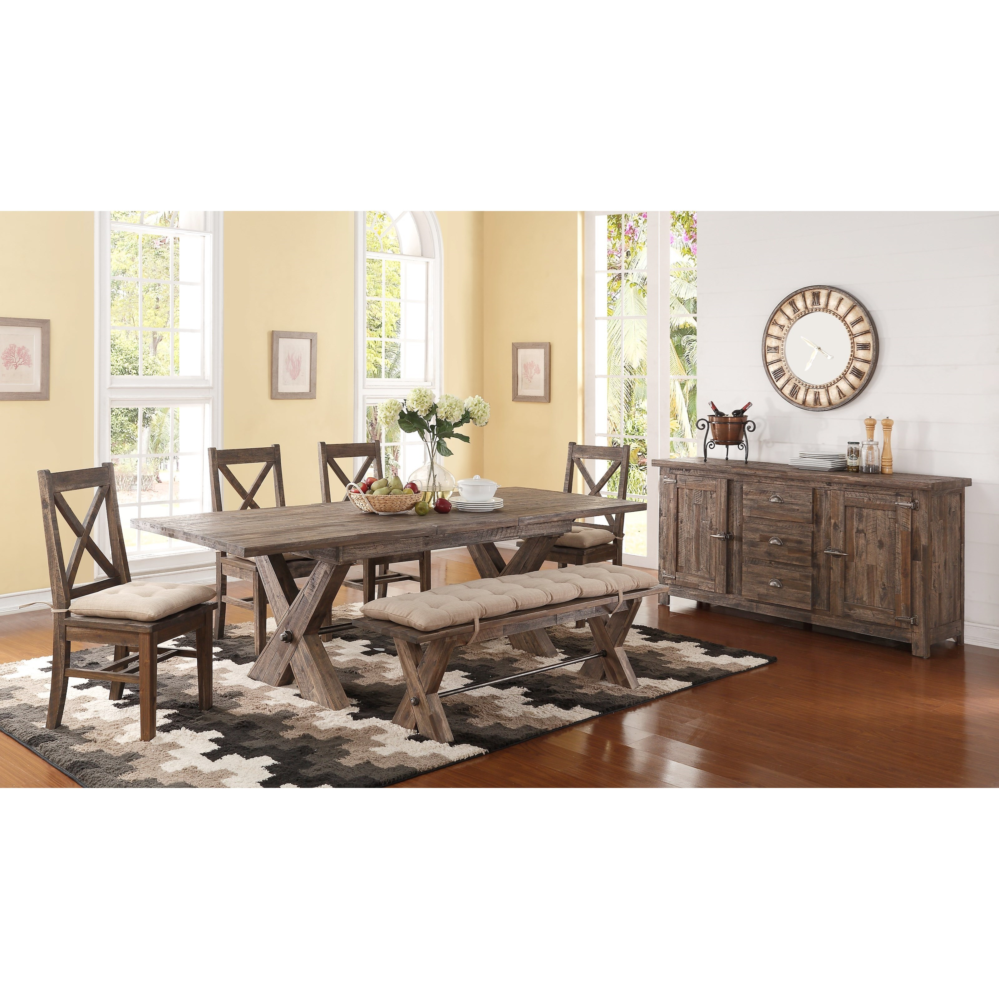 Perfect ... New Classic Tuscany Park6 Piece Trestle Dining Table Set