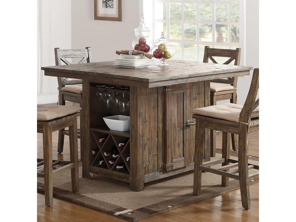 Tuscany Park Pub Table With Wine Glass And Bottle Storage By New Classic