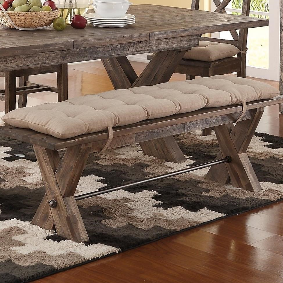 New Classic Tuscany Park Dining Bench With Button Tufted Cushion   Royal  Furniture   Dining Benches