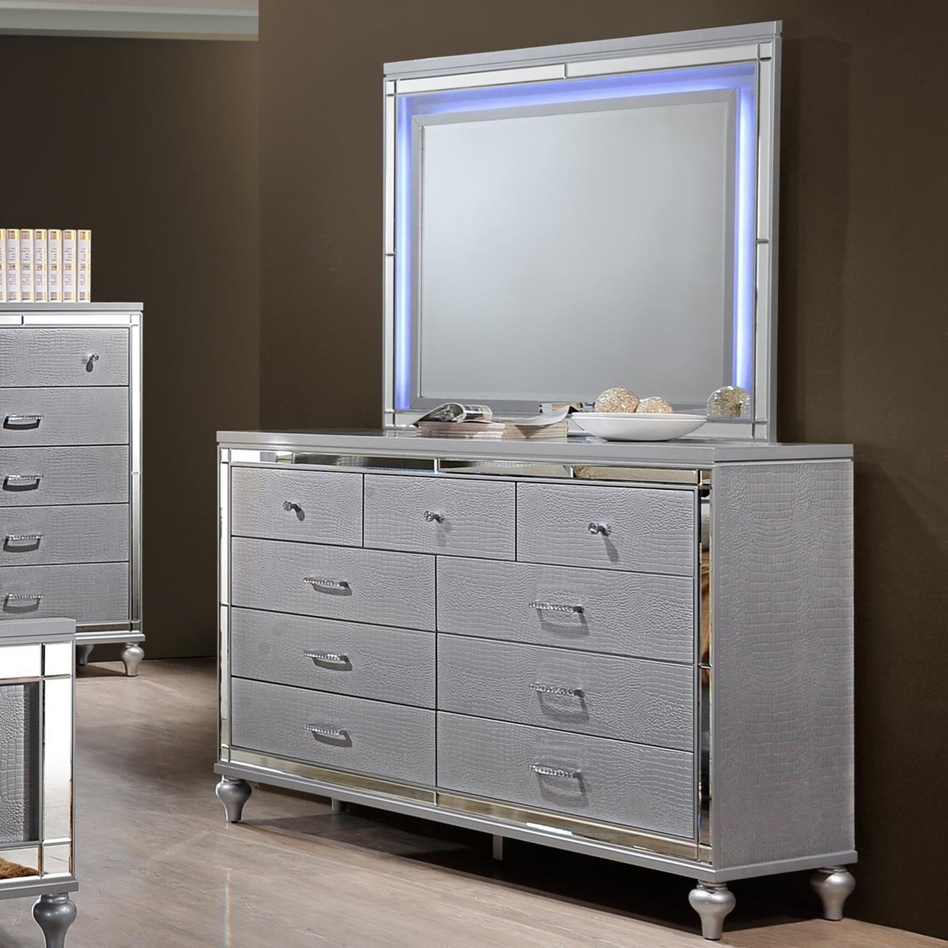 New Classic Valentino Nine Drawer Dresser And Led Backlit Mirror Sam Levitz Furniture Dresser Mirror Sets