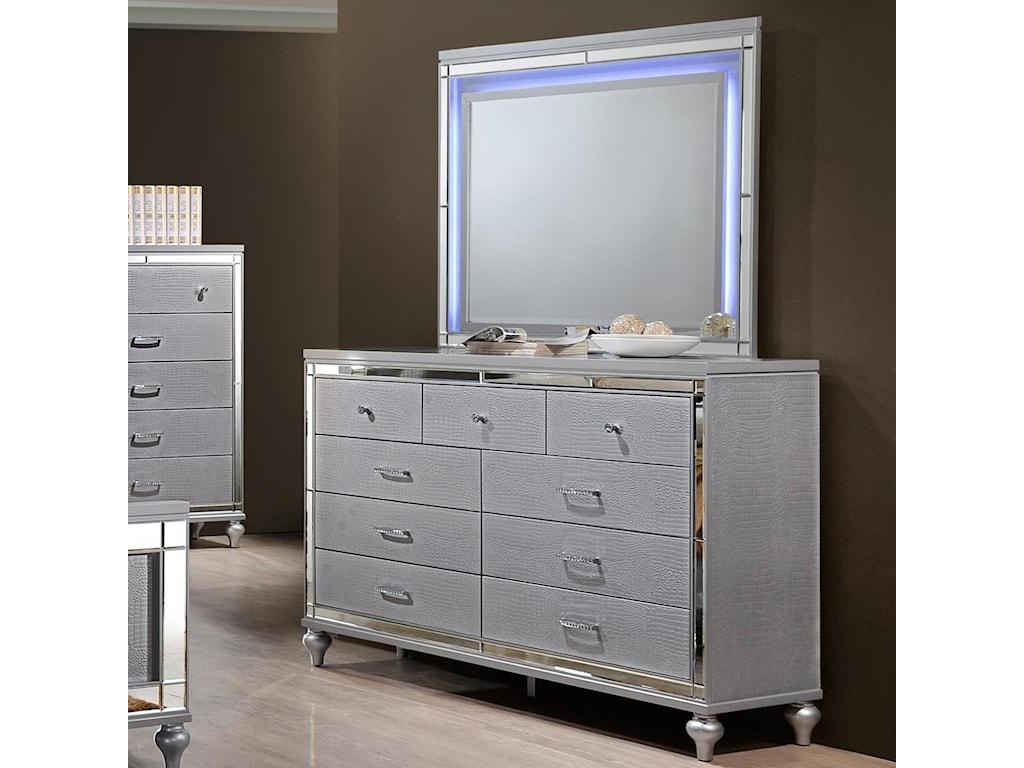 Drawer Dresser And Led Backlit Mirror
