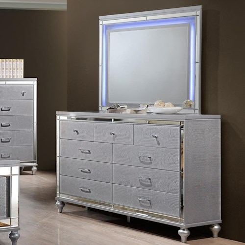 New Classic Valentino Nine Drawer Dresser and LED Backlit Mirror