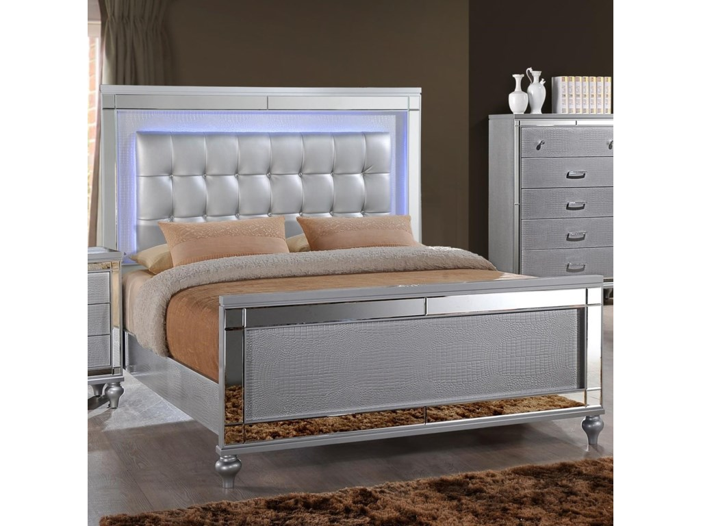 New Classic Valentino Ba9698s 110 120 330 King Bed With Tufted Upholstered Headboard And Led Lighting Sam Levitz Furniture Panel Beds