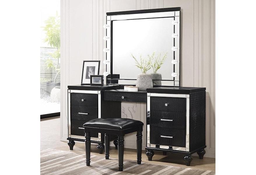 Valentino Vanity And Lighted Mirror Set