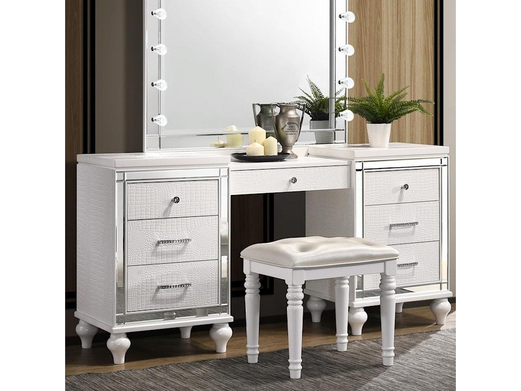 New Classic Valentino Ba9698w 090 7 Drawer Vanity Desk With