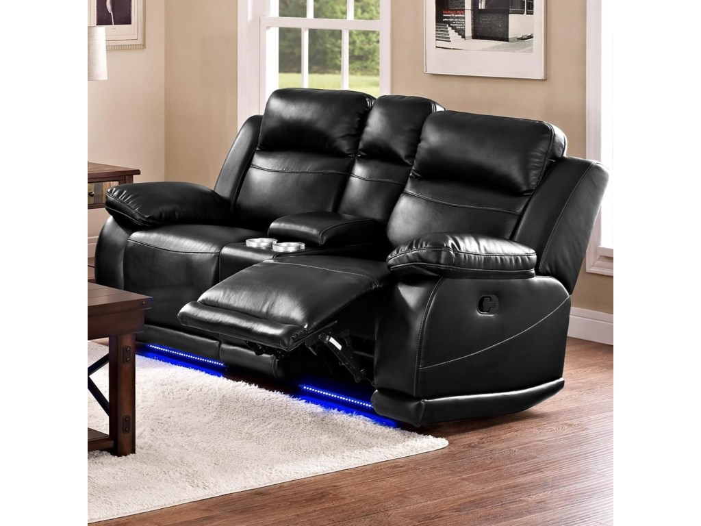Jet Casual Power Reclining Loveseat With Console And Cup Holders