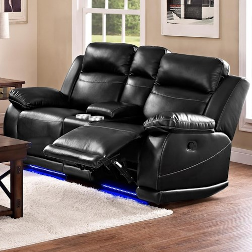 New Classic Jet Casual Power Reclining Loveseat with Console and Cup Holders