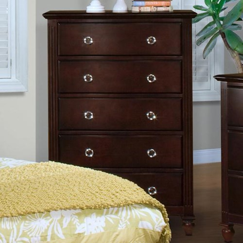New Classic Victoria Five-Drawer Chest with Felt-Lined Top Drawer