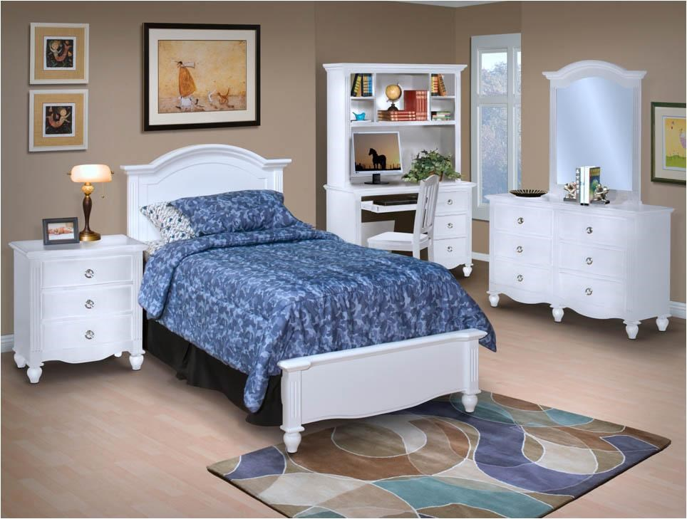 Desk and Hutch Combination Shown With Dresser, Mirror, Bed, and Night Stand