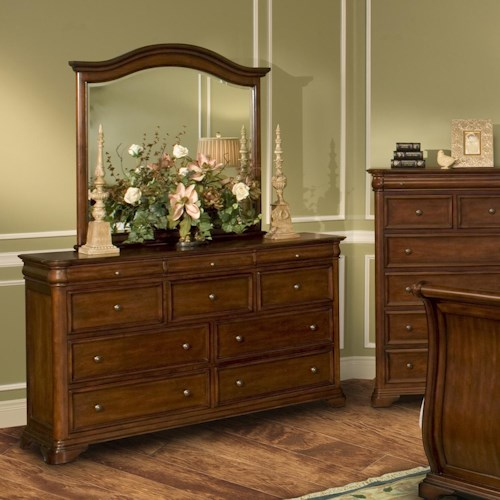 New Classic Whitley Court 10 Drawer Dresser & Landscape Mirror Combo