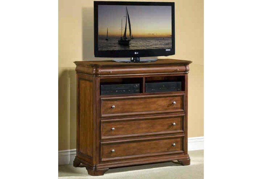 New Classic Whitley Court Three Drawer Media Chest With Open Media