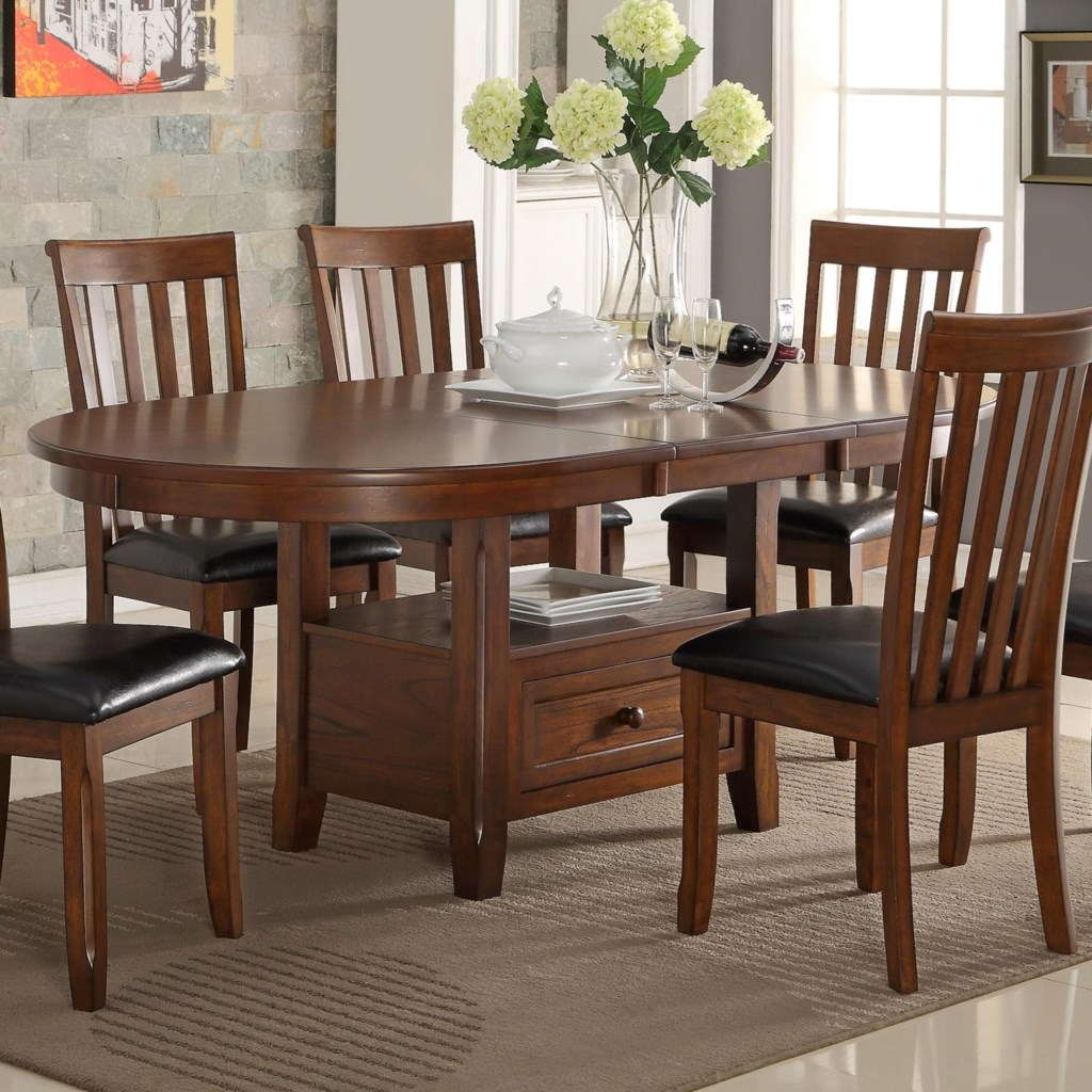 New Classic Wilson D0226 10 Round Dining Table With Storage Shelf