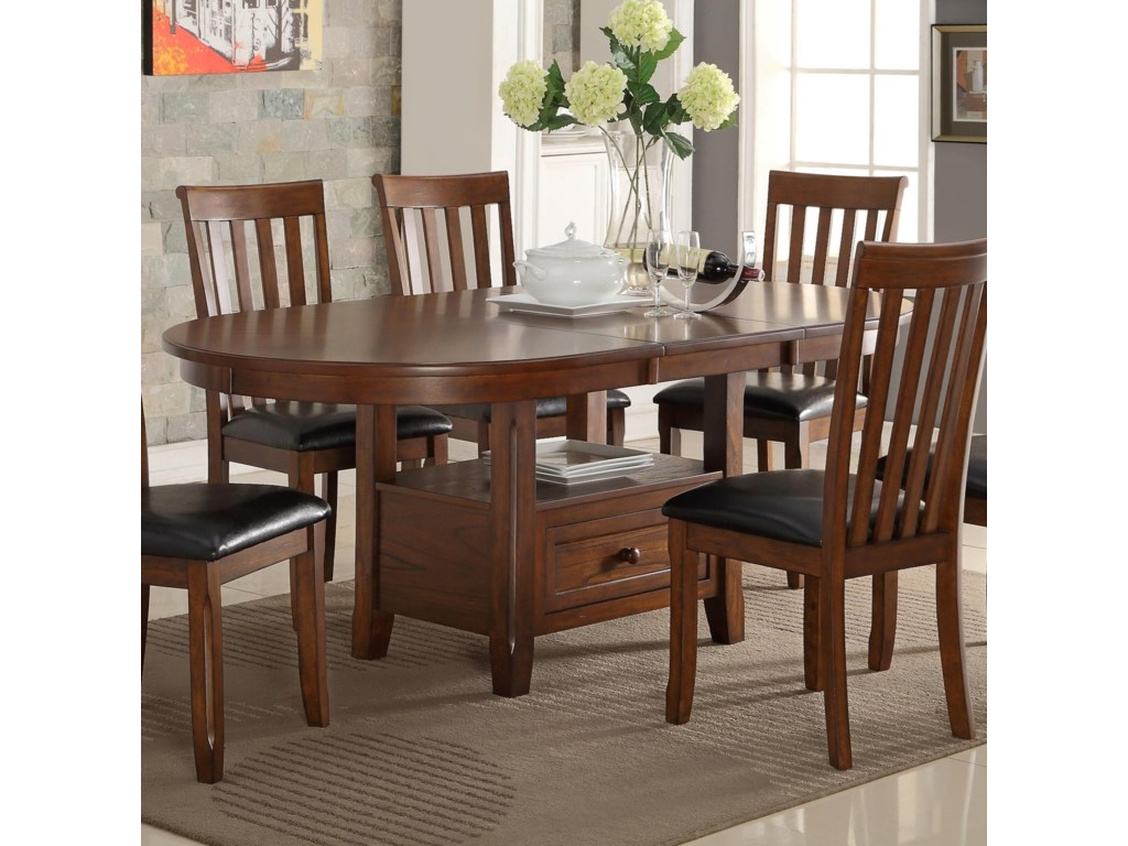New Classic Wilson Round Dining Table With Storage Shelf And Drawer