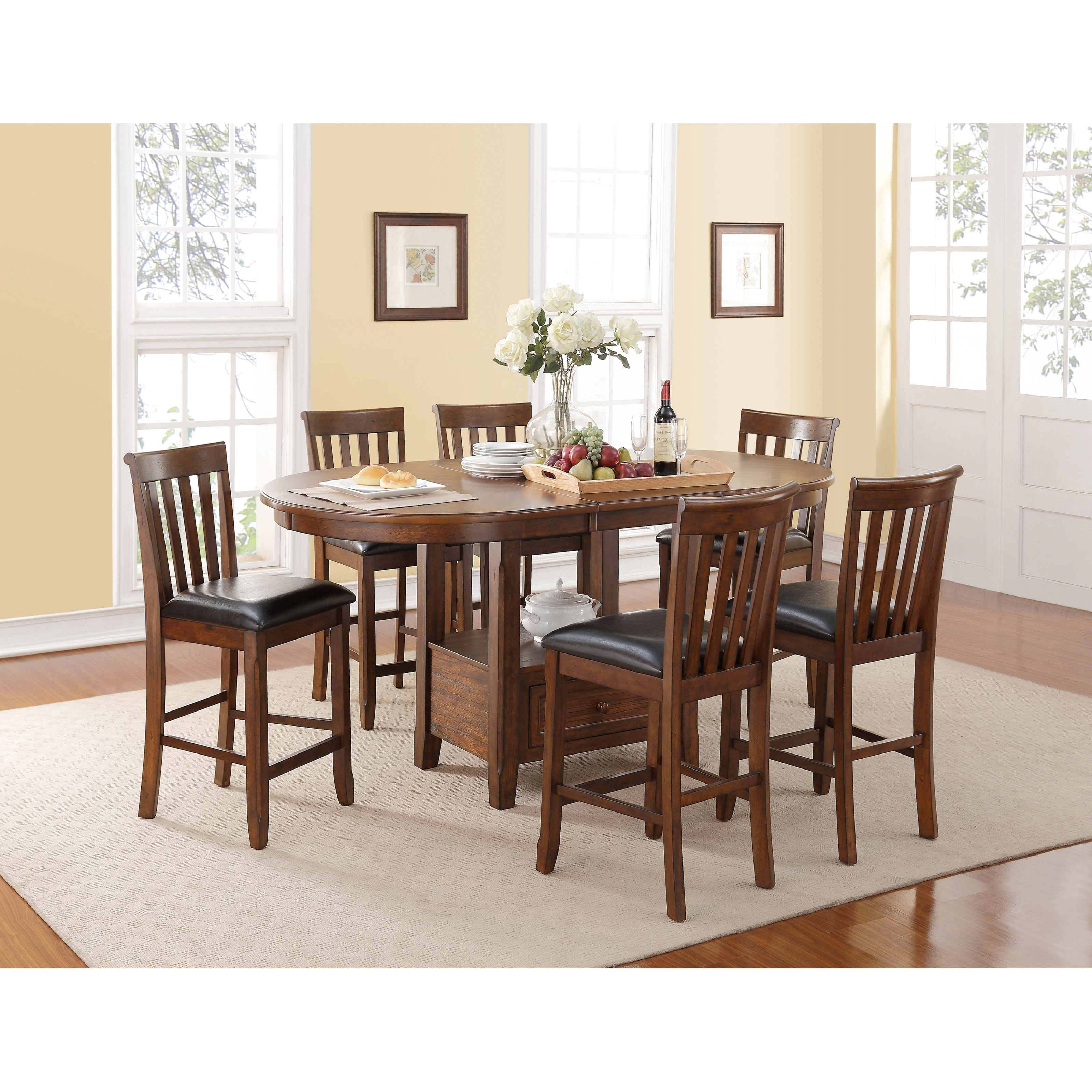 Wilson 7 Piece Counter Table and Upholstered Chair Set by New Classic  sc 1 st  Becku0027s Furniture & New Classic Wilson 7 Piece Counter Table and Upholstered Chair Set ...