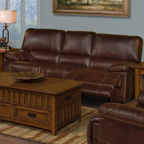 New Classic Wyoming Casual Power Dual Recliner Sofa With Accent Stitching Furniture Superstore