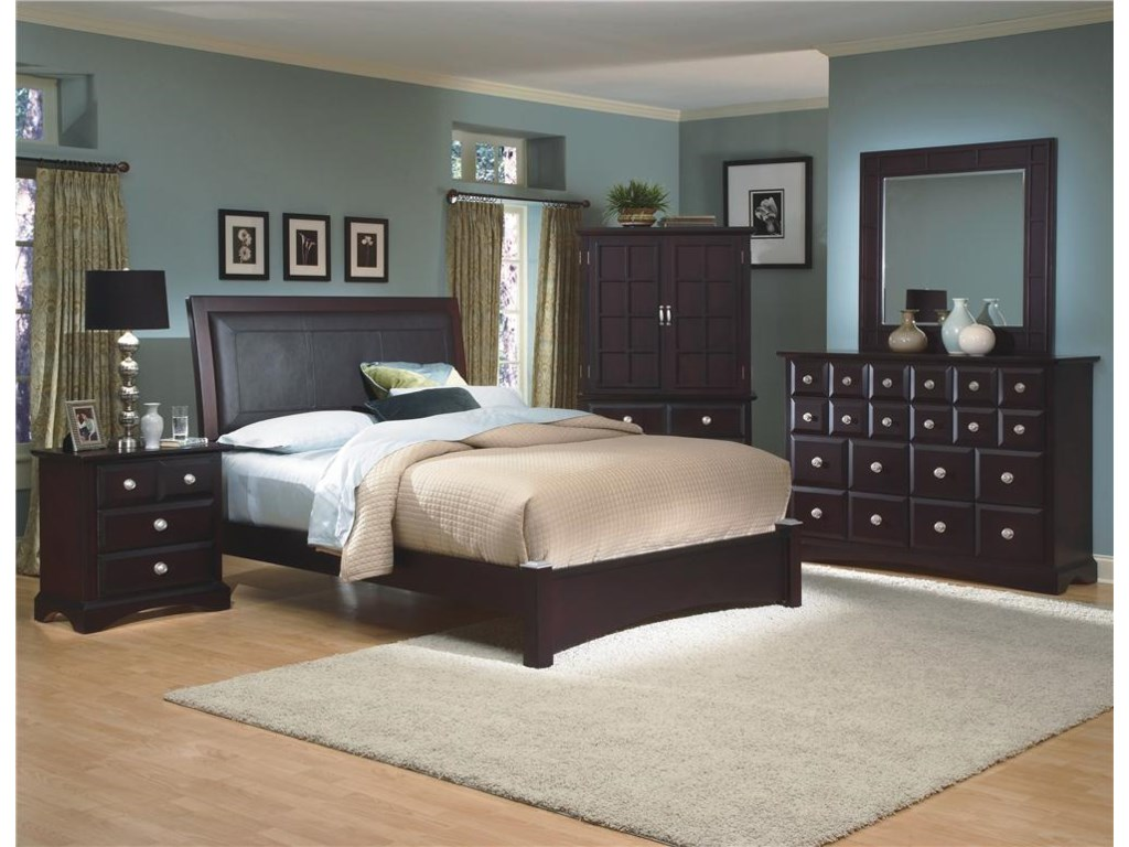 Shown with Panel Headboard, Armoire, Landscape Mirror, and Dresser