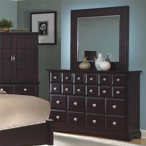 New Classic Arbor Drawer Dresser & Square Landscap Mirror Set