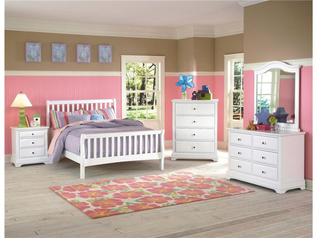 Sleigh Bed Shown with Nightstand, Chest, Mirror and Dresser - Bed Shown May Not Represent Size Indicated