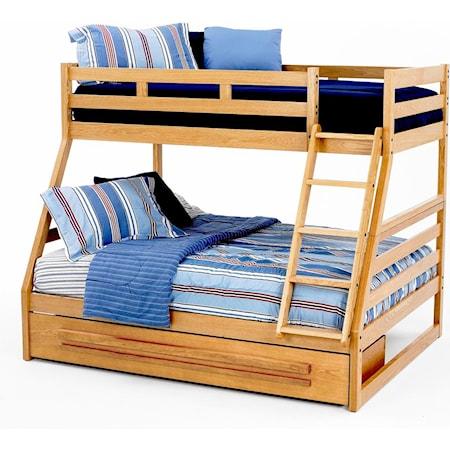 Twin/Full Oak Bunk Bed