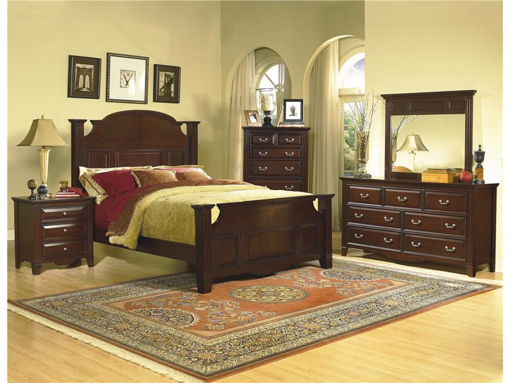 Dresser and Mirror Shown with Nightstand, Poster Bed and Chest.
