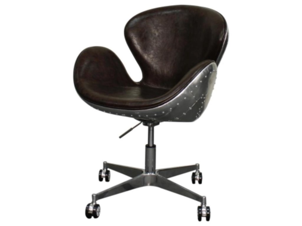 Happy Chair Duval Duval Pu Swivel Office Chair Aluminum Frame Distressed Java Reeds Furniture Office Task Chairs