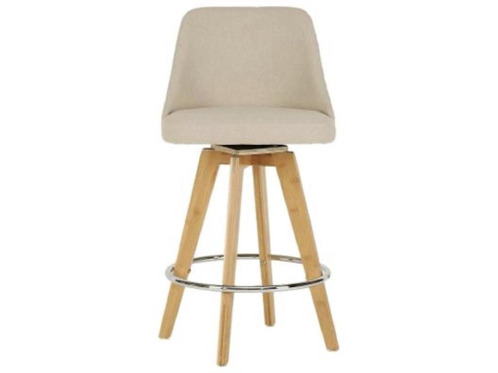 Happy Chair NalaNala Swivel Counter Stool, Linen/Natural