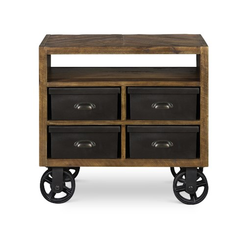 Next Generation by Magnussen Braxton Rustic Drawer Nightstand with Metal Casters and Storage Boxes