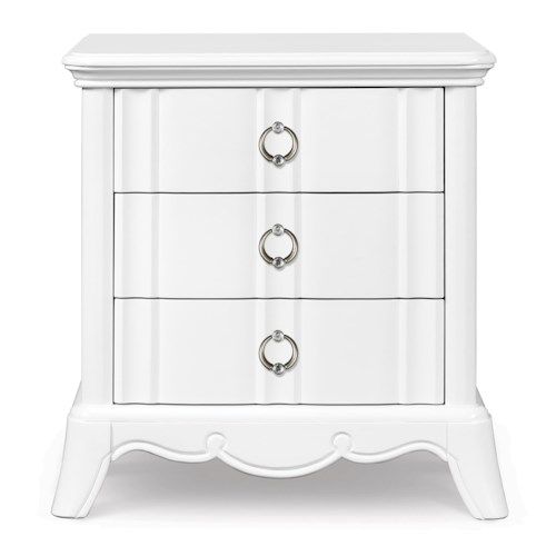 Next Generation by Magnussen Gabrielle Youth Three Drawer Nightstand with Touch Light, Faux Diamond Accent Hardware and Charging Station