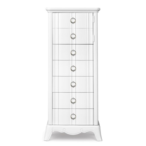 Next Generation by Magnussen Gabrielle Youth Swivel Chest with Door and Drawer Storage Face and Faux Diamond Tufted Fabric Upholstered Face
