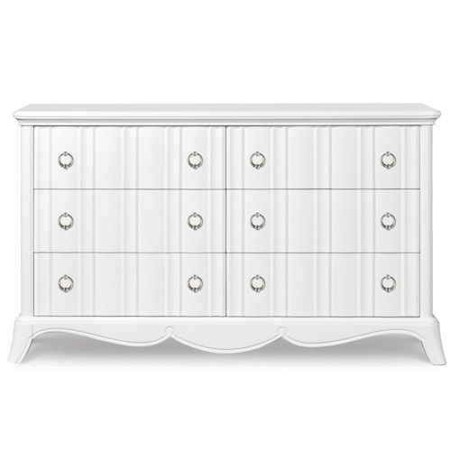 Next Generation by Magnussen Gabrielle Youth Six Drawer Dresser with Shaped Front and Faux Diamond Accent Hardware