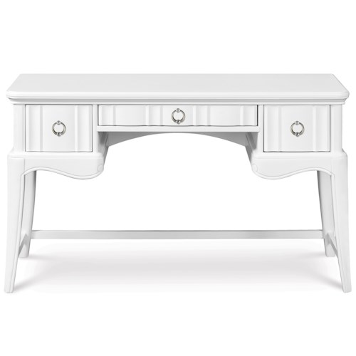 Next Generation by Magnussen Gabrielle Youth Open Desk with 3 Drawers and Faux Diamond Accent Hardware