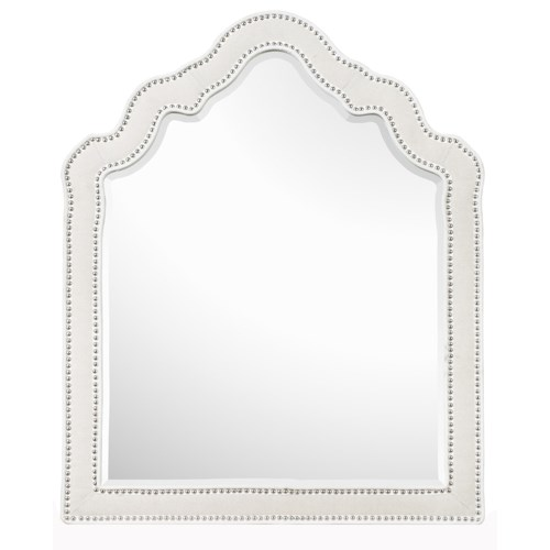 Next Generation by Magnussen Gabrielle Youth Shaped Portrait Mirror with Fabric Upholstered Frame and Nail Head Trim