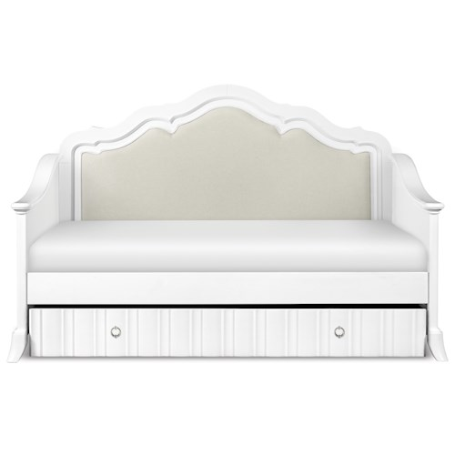 Next Generation by Magnussen Gabrielle Youth Twin Size Daybed with Upholsterd Back Panel and Trundle Drawer
