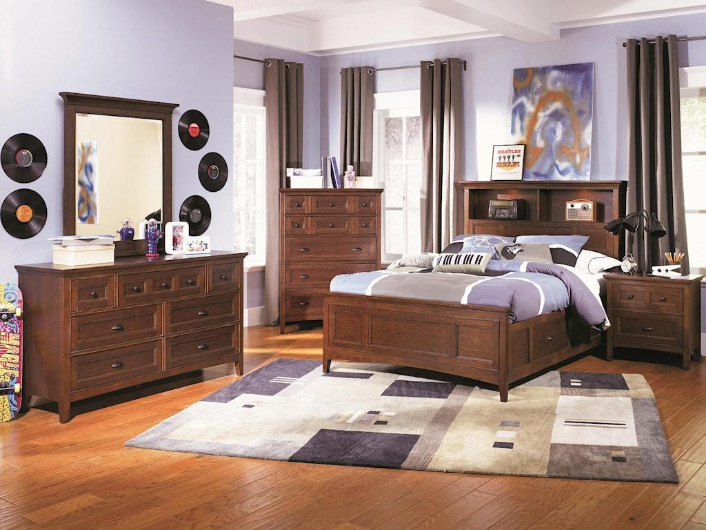 Shown with Bookcase Storage Bed, Drawer Nightstand, Drawer Dresser and Portrait Mirror
