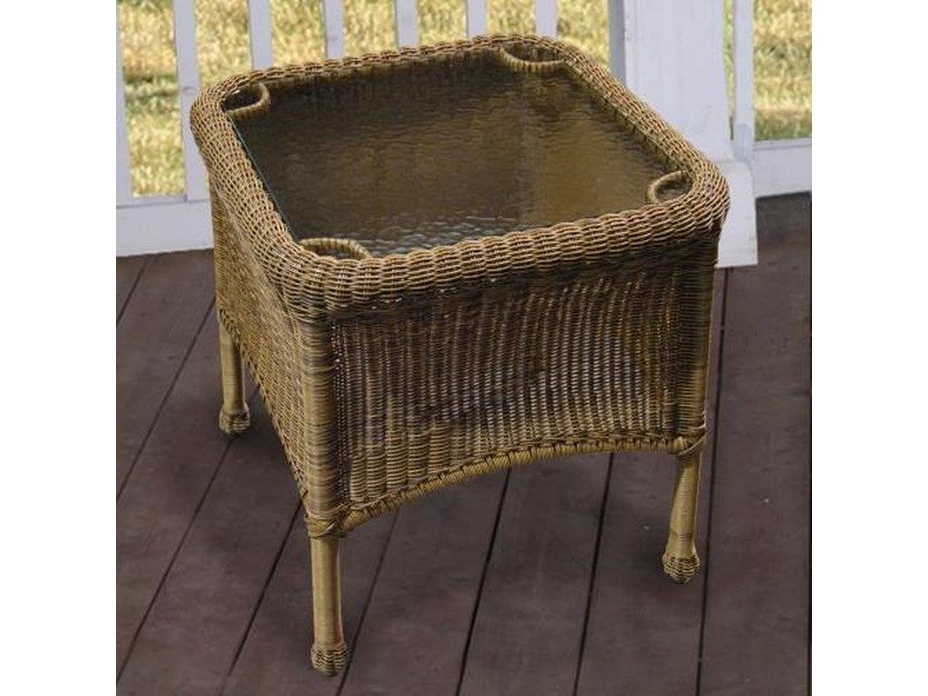 Chicago Wicker Darby Nc280et Co End Table With Glass Top Becker