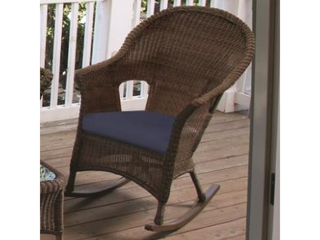 Chicago Wicker Darby Rocking Chair With Cushioned Seat Becker