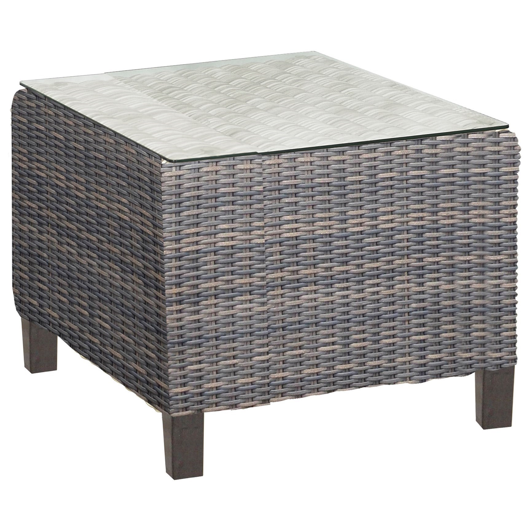San Marino Woven Square End Table With Glass Top By NorthCape International