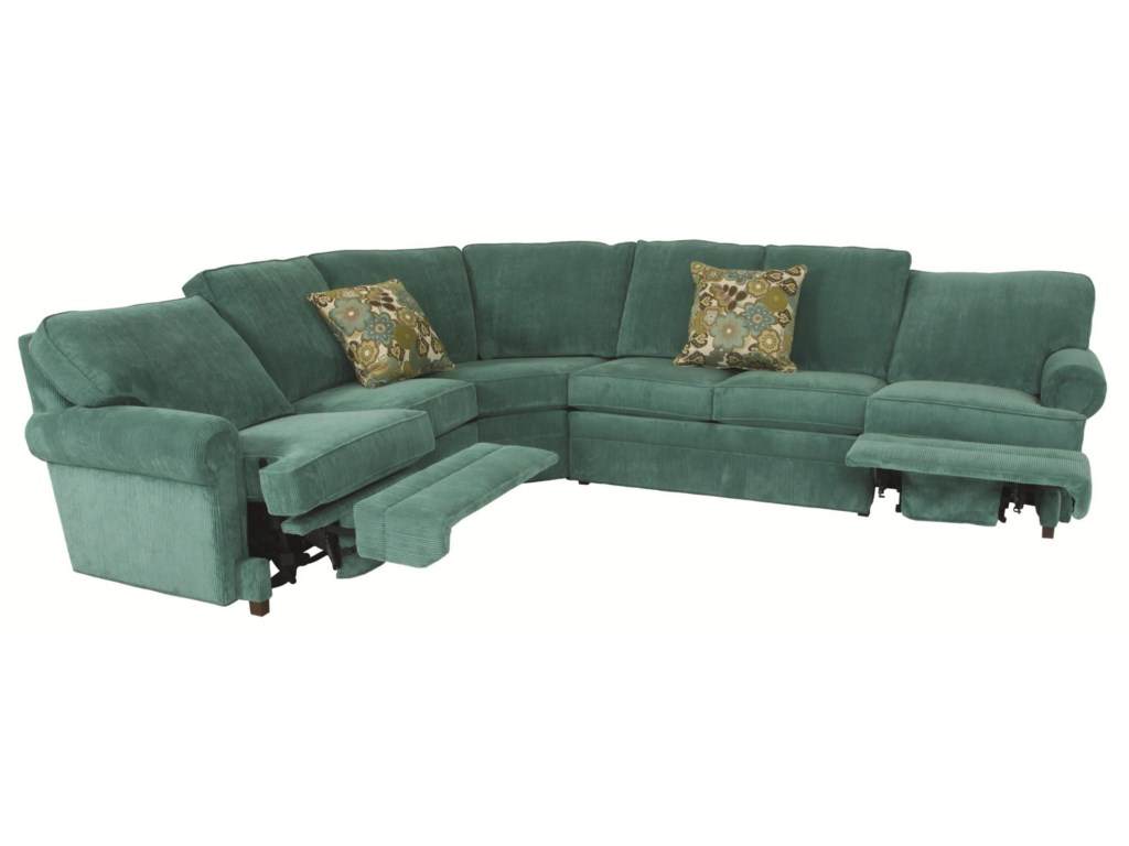 Austin Transitional 5 Piece Sectional With Curved Corner By Norwalk