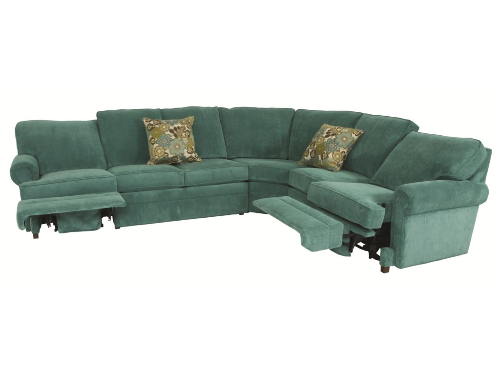 Norwalk Austin Transitional 5 Piece Sectional with Curved Corner ...