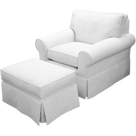 Enjoyable Norwalk Cavett Transitional Chair And Ottoman With Skirt Forskolin Free Trial Chair Design Images Forskolin Free Trialorg