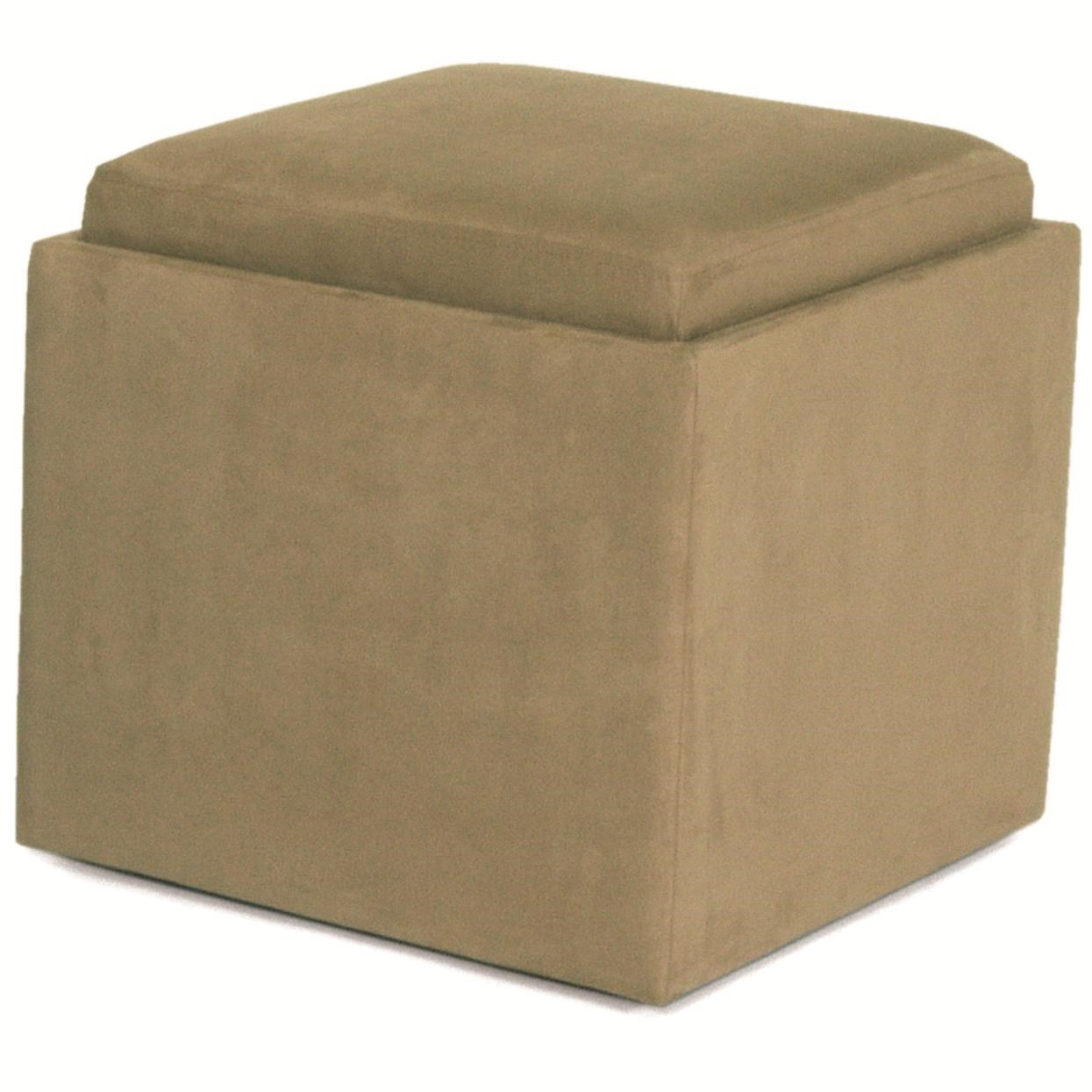 Jeeves Contemporary Storage Ottoman With Wood Tray By Norwalk