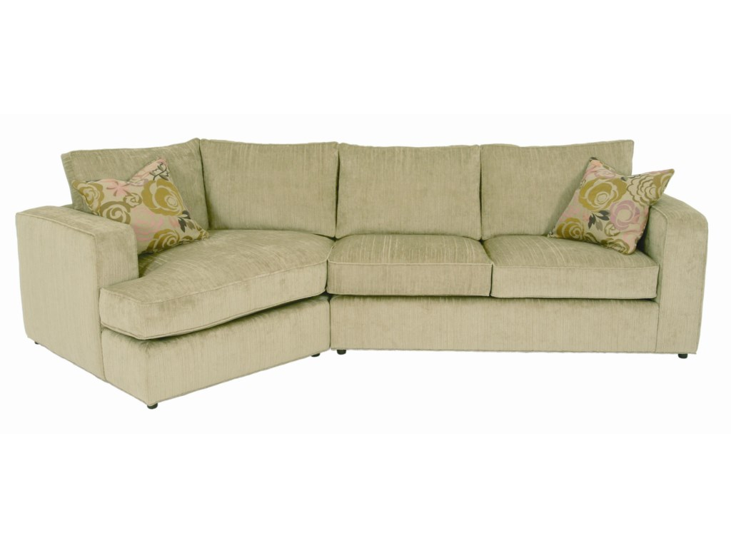 Ord Casual Angled Sectional Sofa With Accent Pillows By Norwalk