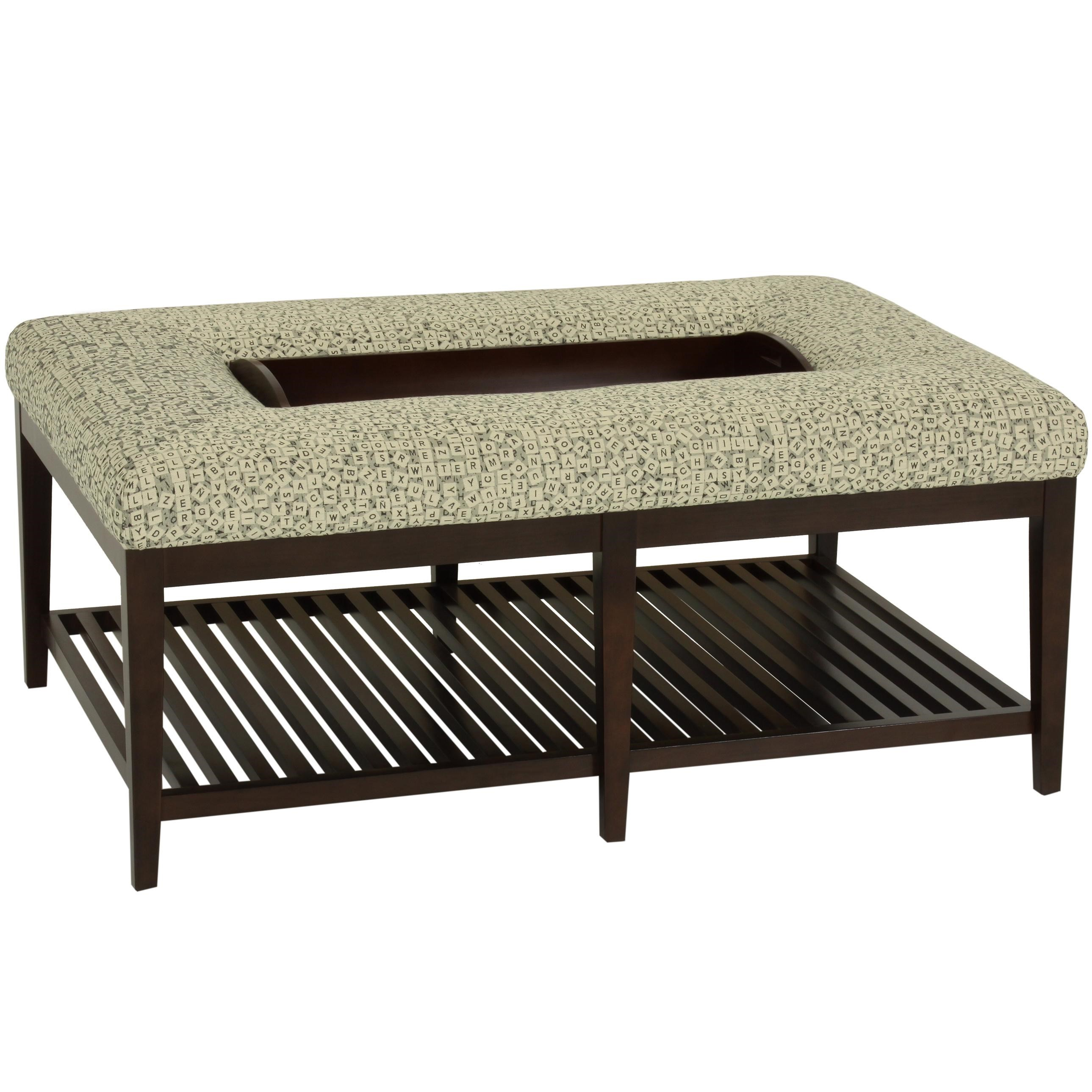 Shelton Contemporary Ottoman/Bench With Slatted Base And Tapered Block Feet  By Norwalk