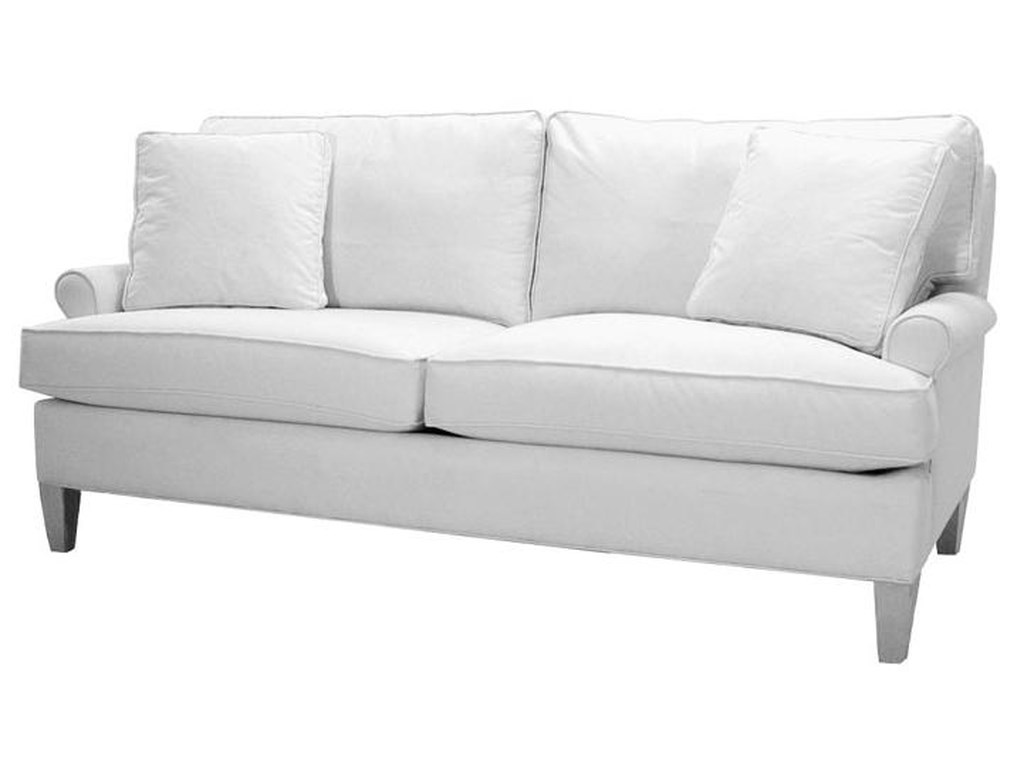Townsend Sofa With Short Rolled Sock Arms Welt Cords And Tapered Wood Legs By Norwalk