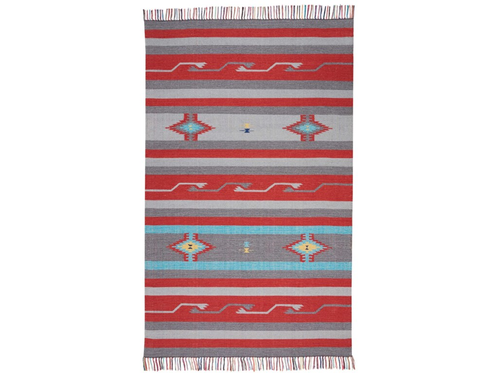Nourison Baja5' X 7' Gry/Red Rug