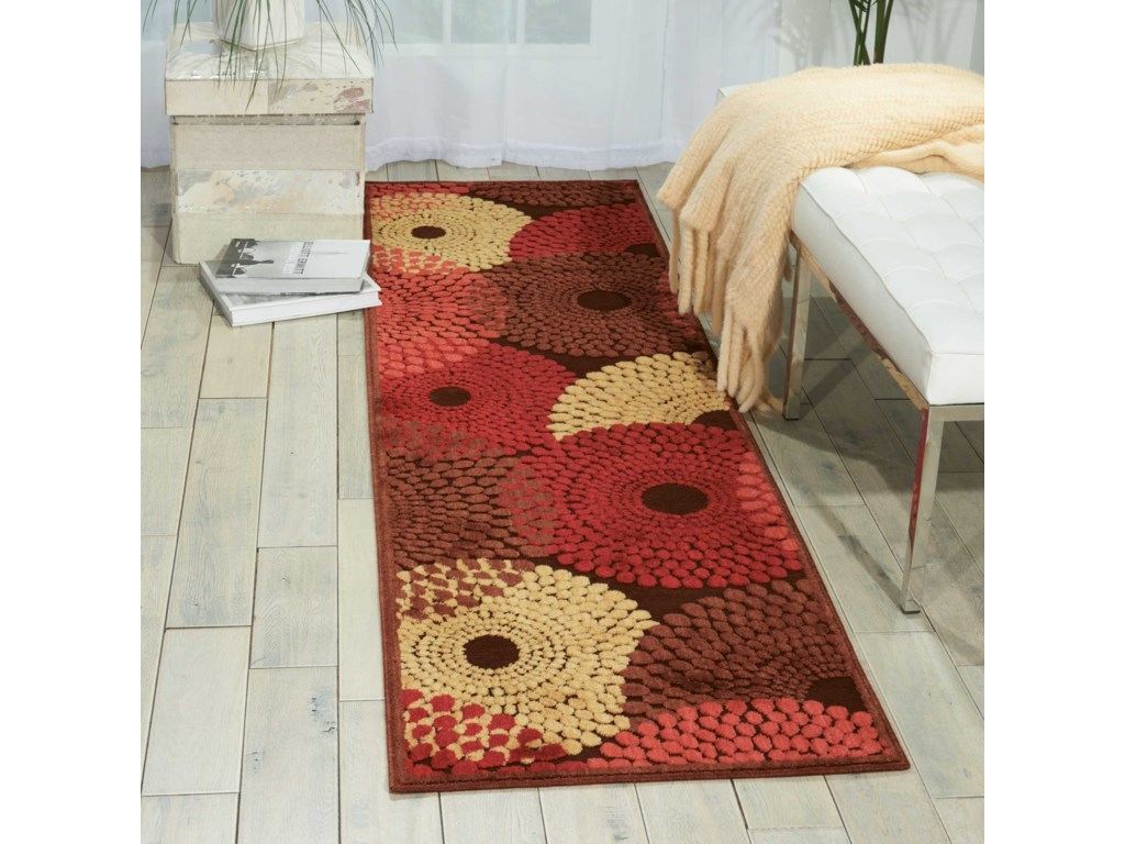 Nourison Graphic Illusions2' x 5' Brown Runner Rug